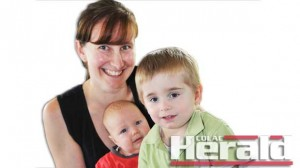 Pirron Yallock mother Anna Reilly with sons Luke and William, who had a bone marrow transplant.