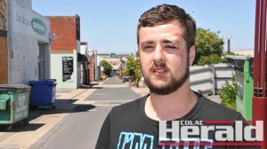 Craig Beall was bloodied and bruised after an attack in Colac.