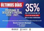 INVITA SECRETARÍA DE FINANZAS A APROVECHAR ÚLTIMOS DÍAS DEL 35% DE DESCUENTO EN EL IMPUESTO PREDIAL