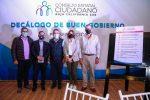 PRESENTA CONSEJO ESTATAL CIUDADANO DECÁLOGO DE BUEN GOBIERNO A FRANCISCO PELAYO