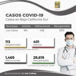 Registra Los Cabos estabilidad en el número de casos de COVID-19; se mantiene en nivel 3 del Sistema de Alerta Sanitario