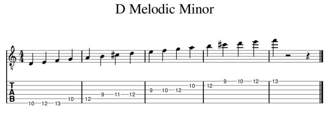 D Melodic Minor scale guitar lessons essex