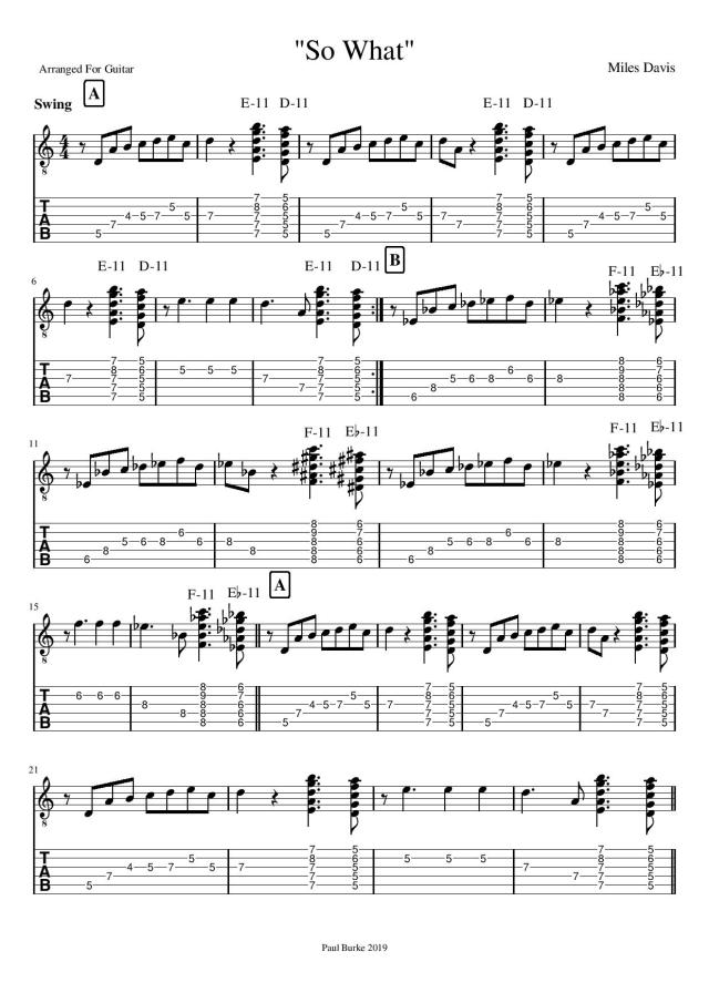 So What Miles Davis jazz guitar tab guitar lessons guitar tuition colchester essex