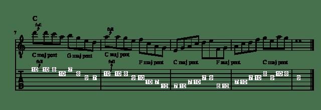 Mixing major pentatonic scales lick 3