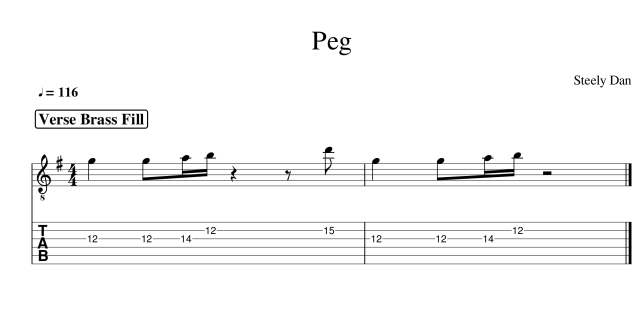 peg guitar tab steely dan verse brass fills