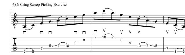 sweep picking exercise 2 guitar lesson
