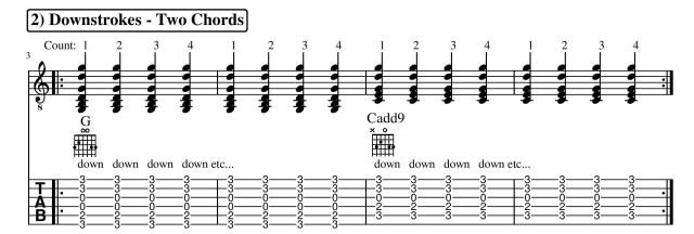 guitar lesson strumming pattern downstrokes
