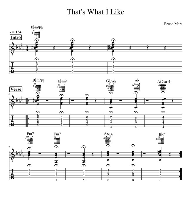 that's what i like tab guitar bruno mars page 1