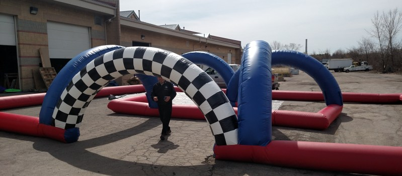Custom inflatable potty racers maze