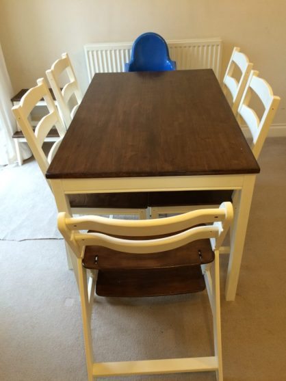 Upcycled Ikea Jokkmokk Table, Chairs and Hauck High Chair