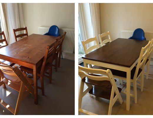 Upcycled Jokkmokk Table, Chairs and Hauck Highchair