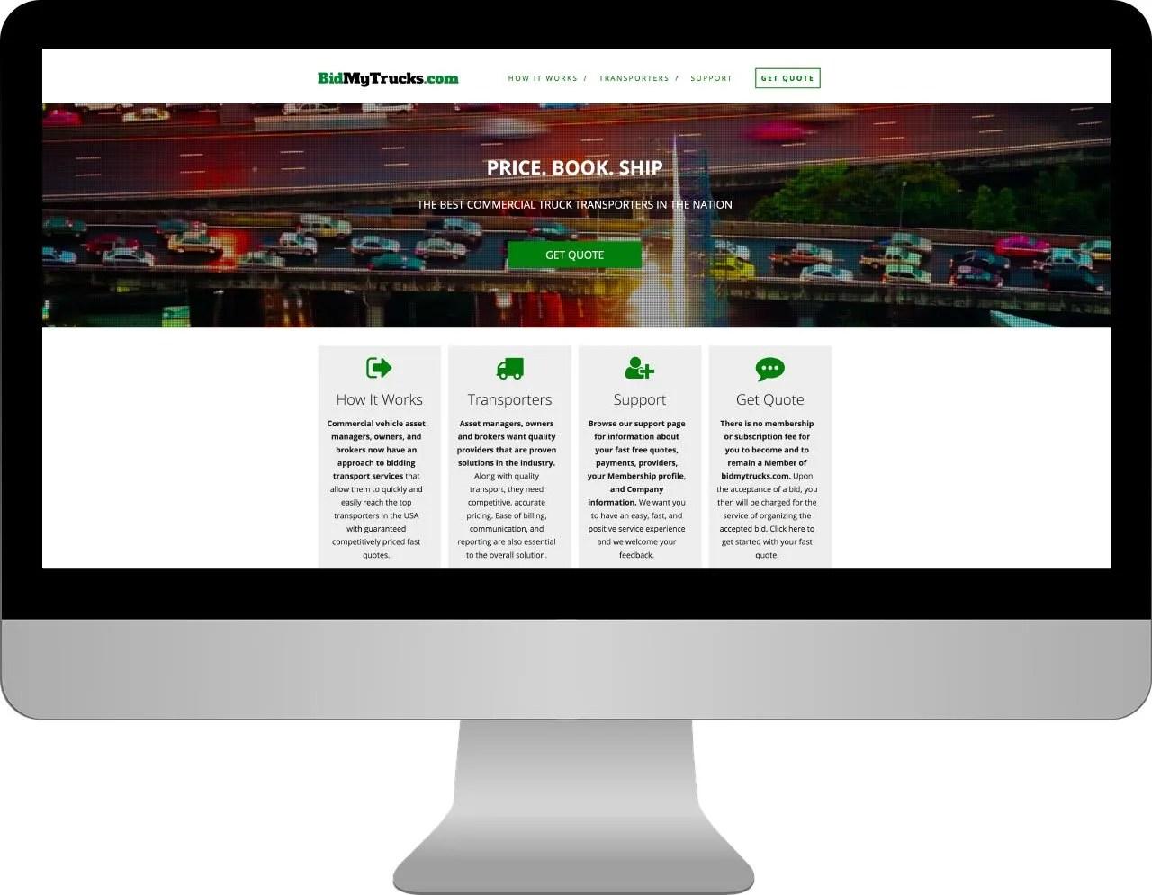 Coldiron Companies Solutions:  BidMyTrucks.com Desktop Website