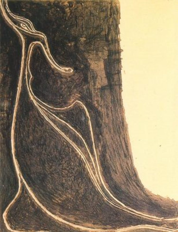 Rabindranath Tagore - Bird Fantastic, Ink on paper, 16.9 x 22.2 cms, (Acc. No. 1225), National Gallery of Modern Art, New Delhi