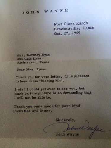 Letter by John Wayne to Dorothy Ryan