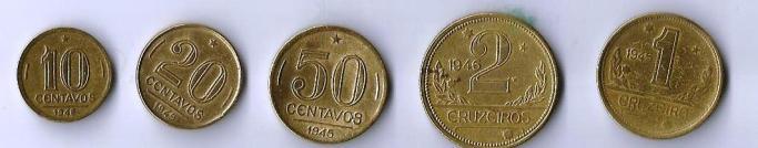 Primeira série do primeiro cruzeiro (4º sistema monetário). Falta a moeda de 5 cruzeiros, emitida somente em 1942 e 1943.