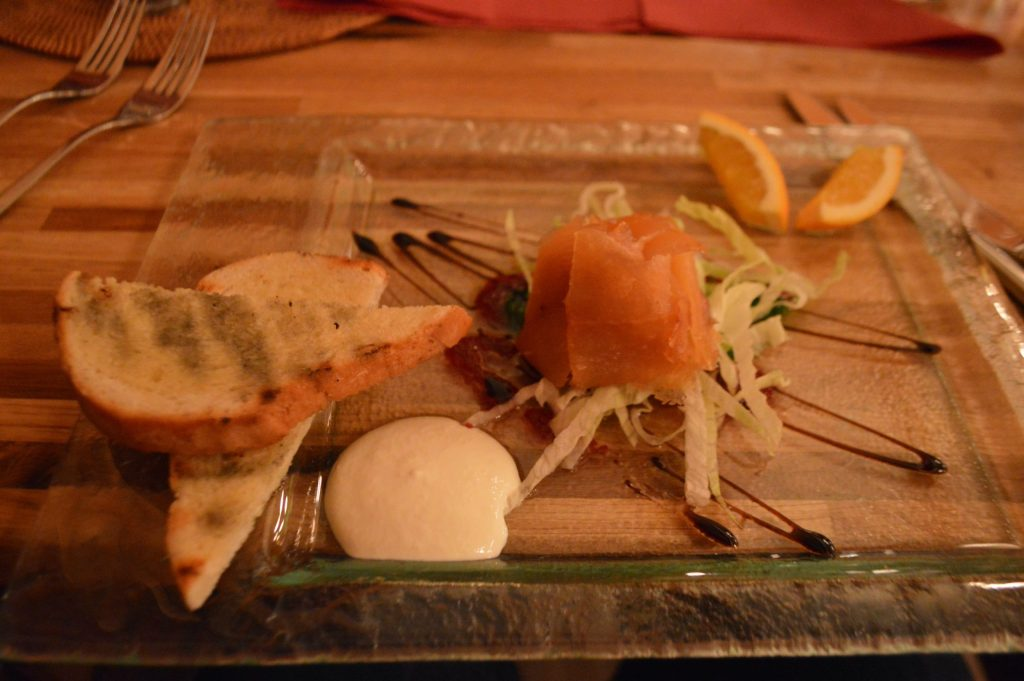 Smoked salmon starter at hotel Katla