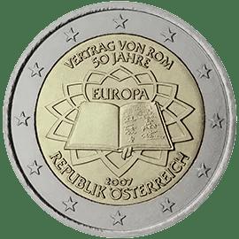 Moneda Conmemorativa de 2 Euros de Austria 2007 - Conmemorativa Común por el 50 Aniversario del Tratado de Roma