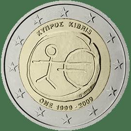 Moneda Conmemorativa de 2 Euros de Chipre 2009 - Conmemorativa Común por el 10 Aniversario de la Unión Económica y Monetaria