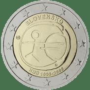 Moneda Conmemorativa de 2 Euros de Eslovaquia 2009 - Conmemorativa Común por el 10 Aniversario de la Unión Económica y Monetaria