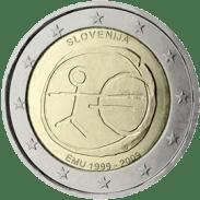 Moneda Conmemorativa de 2 Euros de Eslovenia 2009 - Conmemorativa Común por el 10 Aniversario de la Unión Económica y Monetaria