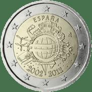 Moneda Conmemorativa de 2 Euros de España 2012 - Conmemorativa Común por el 10 Aniversario de la Entrada en Circulación del Euro