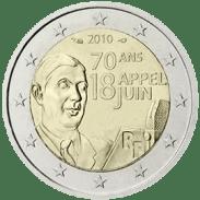 Moneda Conmemorativa de 2 Euros de Francia 2010 - 70 Años del Llamamiento del 18 de Junio