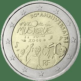 Moneda Conmemorativa de 2 Euros de Francia 2011 - 30 Años de la Fiesta de la Música