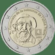 Moneda Conmemorativa de 2 Euros de Francia 2012 - Centenario del Nacimiento de Abbé Pierre