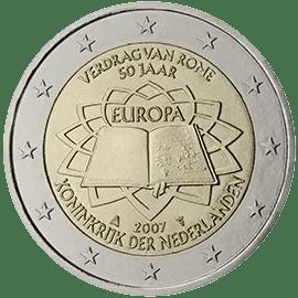 Moneda Conmemorativa de 2 Euros de Holanda 2007 - Conmemorativa Común por el 50 Aniversario del Tratado de Roma
