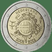 Moneda Conmemorativa de 2 Euros de Holanda 2012 - Conmemorativa Común por el 10 Aniversario de la Entrada en Circulación del Euro