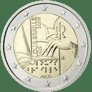 Moneda Conmemorativa de 2 Euros de Italia 2009 - Bicentenario del Nacimiento de Louis Braille