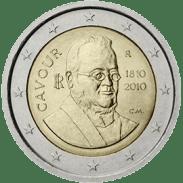 Moneda Conmemorativa de 2 Euros de Italia 2010 - Bicentenario del Nacimiento del Conde de Cavour
