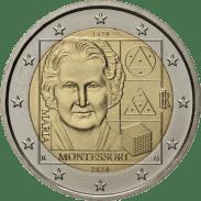 Moneda Conmemorativa de 2 Euros de Italia 2020 - 150 Años del Nacimiento de Maria Montessori