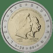 Moneda Conmemorativa de 2 Euros de Luxemburgo 2005 - 50 Cumpleaños del Gran Duque Henri, 5 Años de su Ascenso al Trono y CEntenario de la Muerte del Gran Duque Adolphe