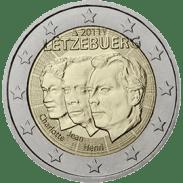 Moneda Conmemorativa de 2 Euros de Luxemburgo 2011 - 50 Años del Nombramiento de Joan Benoit como Heredero del Trono