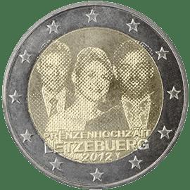 Moneda Conmemorativa de 2 Euros de Luxemburgo 2012 - Boda del Gran Duque Heredero Guillaume y Estefanía de Lannoy
