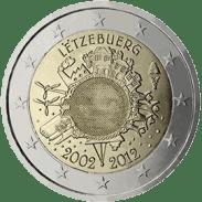 Moneda Conmemorativa de 2 Euros de Luxemburgo 2012 - Conmemorativa Común por el 10 Aniversario de la Entrada en Circulación del Euro