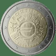 Moneda Conmemorativa de 2 Euros de Portugal 2012 - Conmemorativa Común por el 10 Aniversario de la Entrada en Circulación del Euro