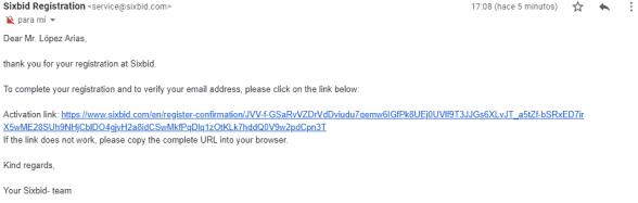 Email de Verificación de Sixbid