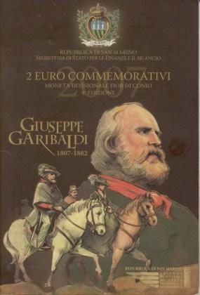 Cartera San Marino 2007 2 Euros Conmemorativos Garibaldi
