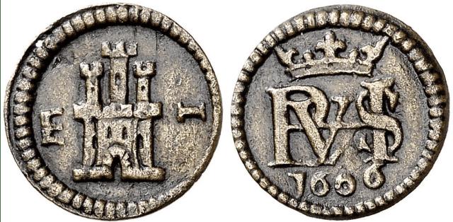 Moneda de 1 Maravedí de Felipe III, España, KM#1