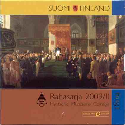 Cartera Anual Finlandia 2009 2 Euros Conmemorativos - Autonomía y Dieta de Porvoo