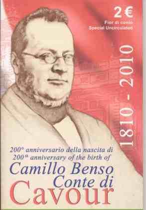 Coincard Italia 2010 2 Euros Conmemorativos Cavour