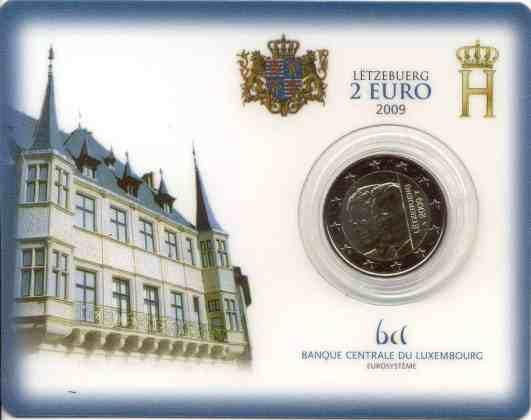 Coincard Luxemburgo 2009 2 Euros Conmemorativos Charlotte