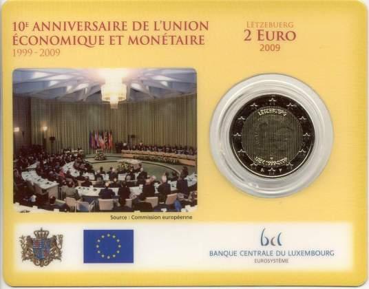 Coincard Luxemburgo 2009 2 Euros Conmemorativos 10 Años de la UEM