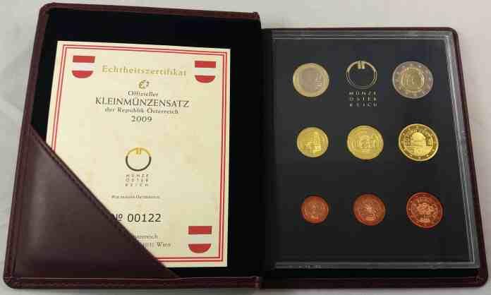 Estuche Proof Austria 2009 2 Euros Conmemorativos 10 Años de la UEM