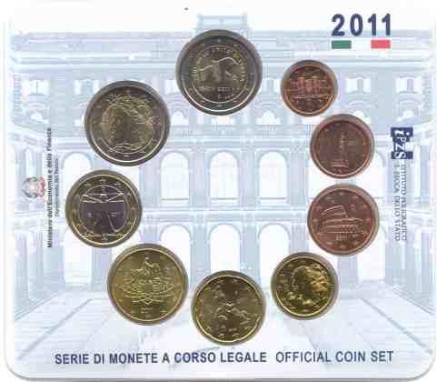 Cartera Anual Italia 2011 2 Euros Conmemorativos Unificación de Italia