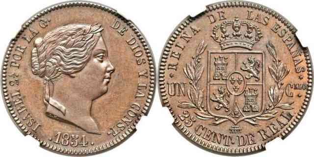 25 centimos de real 1854 Isabell II España Proof