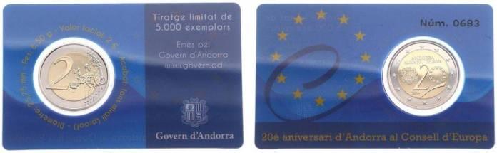 Coincard 2 Euros Conmemorativos Andorra 2014 - 20 Aniversario del Acceso de Andorra al Consejo de Europa