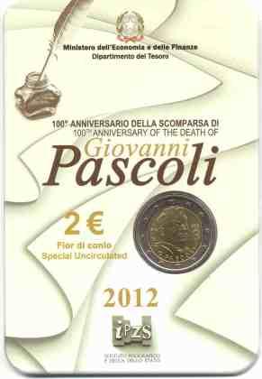 Coincard Italia 2012 2 Euros Conmemorativos Giovanni Pascoli